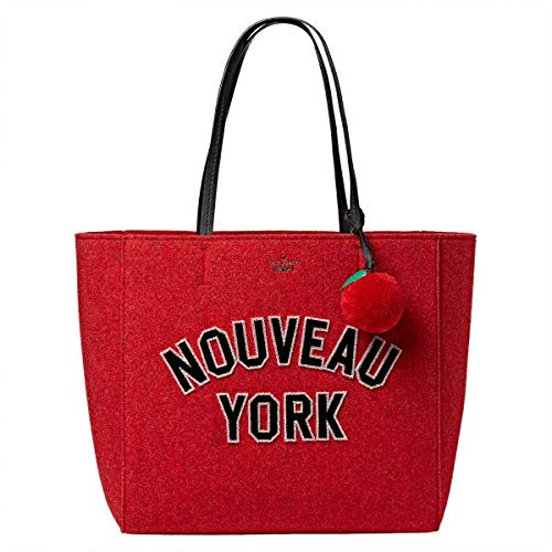 Kate Spade Nouveau York Hallie Red Wool Felt Tote Bag Handbag