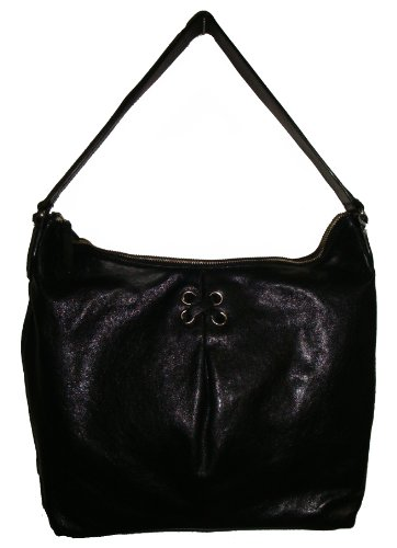 Cole Haan Women's Avery Grommet II Unit Hobo Leather Handbag, Large Black