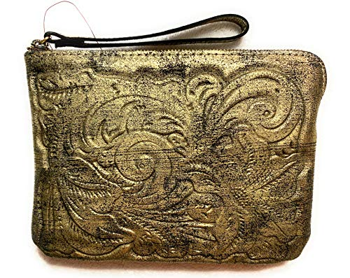Patricia Nash Soft Metallic Tooled Cassini Wristlet Gold Metallic