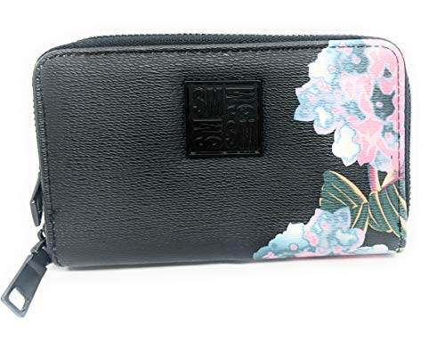 Steve Madden BGIRLY Double Zip Around Wallet/Wristlet, Black Floral
