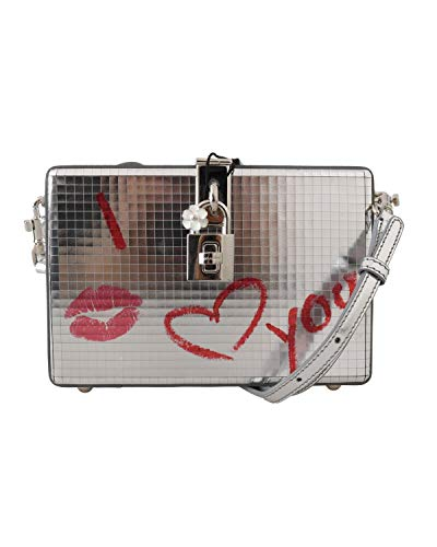 Dolce & Gabbana Silver I Love You Kiss Leather Clutch Purse