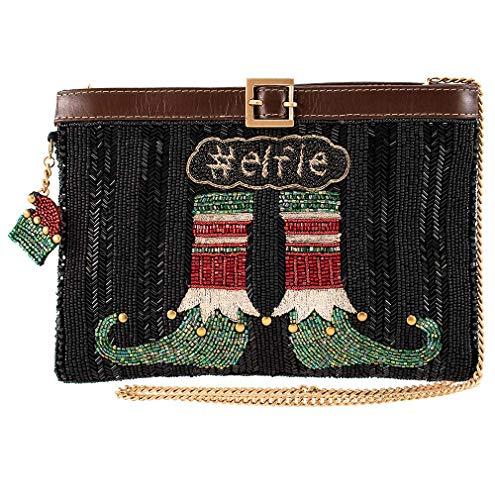 Mary Frances Elfie, Beaded Elf Stockings Crossbody Holiday Handbag