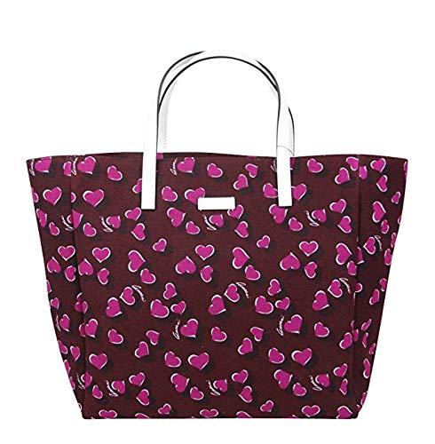 Gucci Parasol Print Purple Canvas Tote Bag Handbag With Heartbit 282439 5060