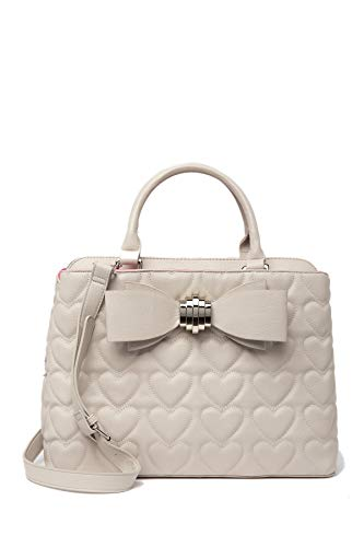 Betsey Johnson Silver Tone Brooch Double Bow Quilted Heart Triple Entry Putty Satchel Shoulder Bag