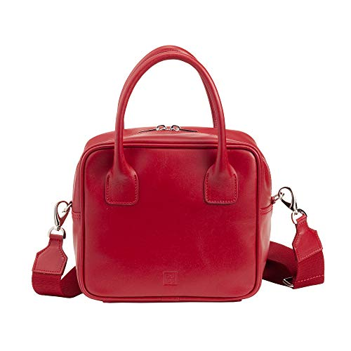DUDU Women Top Handle Handbag Bowling Bag Handmade in Leather Made in Italy with Shoulder Strap and Zip Carcadè