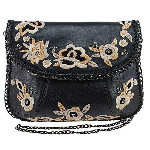 Mary Frances Night Bloom Embroidered Leather Crossbody Handbag