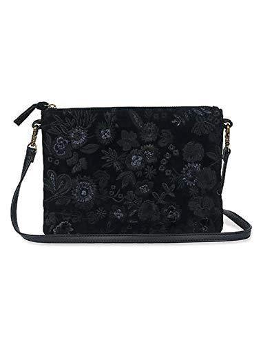 Lucky Brand Midnight Floral Embroidered Black Handbag Clutch Bag