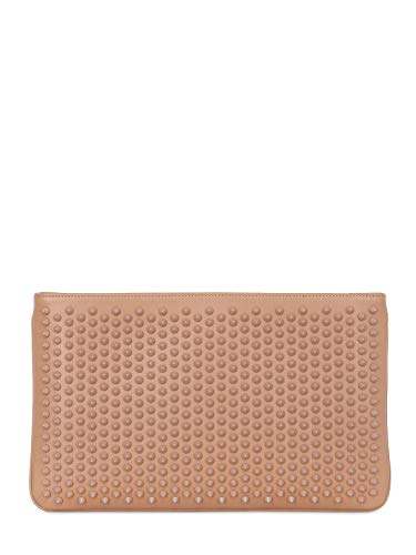 Christian Louboutin $1390 Loubiposh Nude Leather Clutch new
