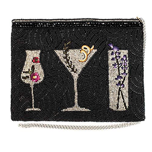 Mary Frances After Hours, Beaded Botanical Cocktails Crossbody Handbag