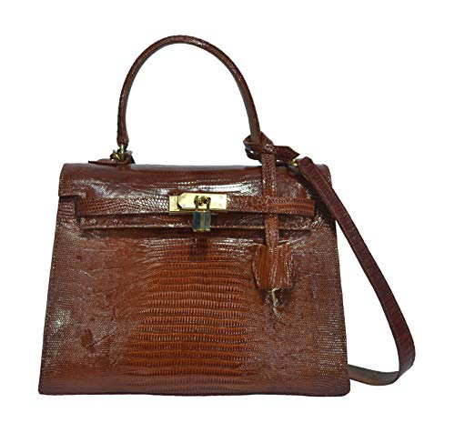 Handbag Authentic Paola Sacci Lizard Skin Womens Belly Leather Locked Clutch Bag Purse Handbag (Bright Brown)