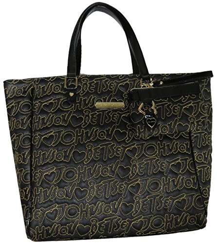 Betsey Johnson 'Be Mine' 2 In One Signature Logo Tote & Coin Purse, Black/Gold