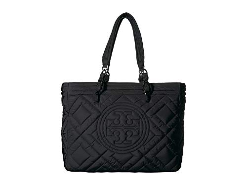 Tory Burch Women's Tory Burch Fleming Handbag In Black Quilted Fabric With Front Logo Black