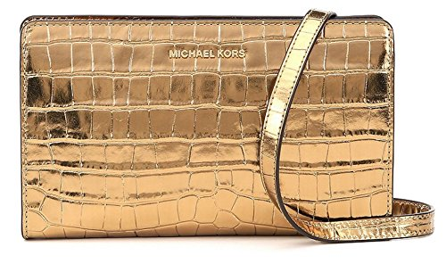 MICHAEL Michael Kors Womens Embossed Metallic Crossbody Handbag Gold Small