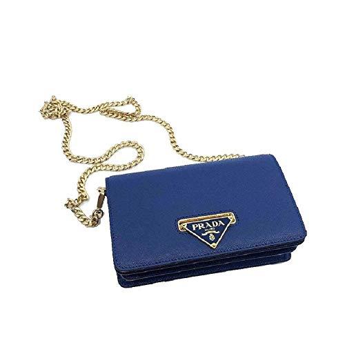 Prada Bandoliera Navy Blue Leather Handbag w Triangle Logo 1BH133