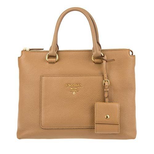 Prada Womens Pomice Vitello Daino Caramel Leather Shopping Tote Bag 1BG048