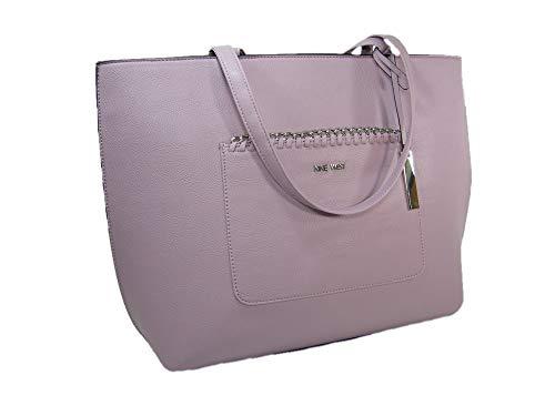 New Nine West Logo Purse XL Shoulder Hand Bag Tote Purple Lilac