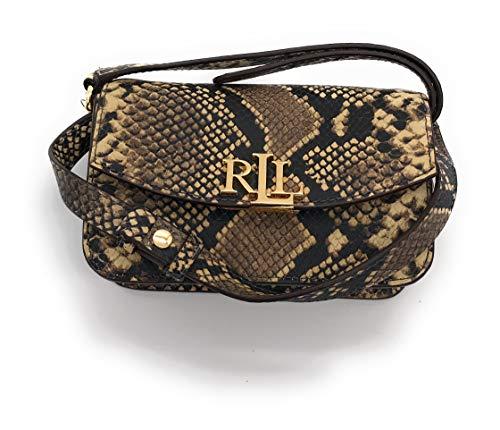 Ralph Lauren Flap Leather Crossbody/Belt Bag (Oatmeal Snakeskin)