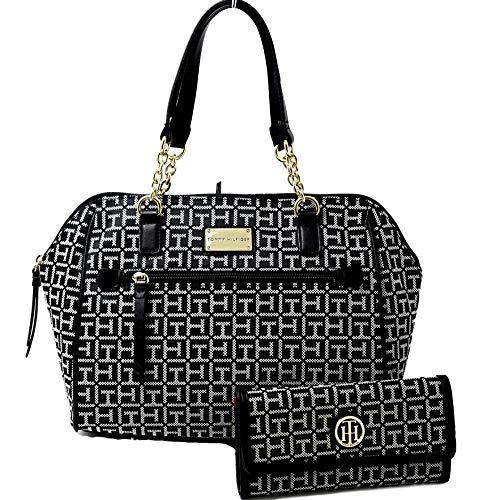 Tommy Hilfiger Logo Satchel Shopper Tote Bag Handbag Purse