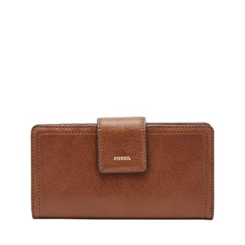 Fossil Women's Logan Leather Tab Wallet, Brown