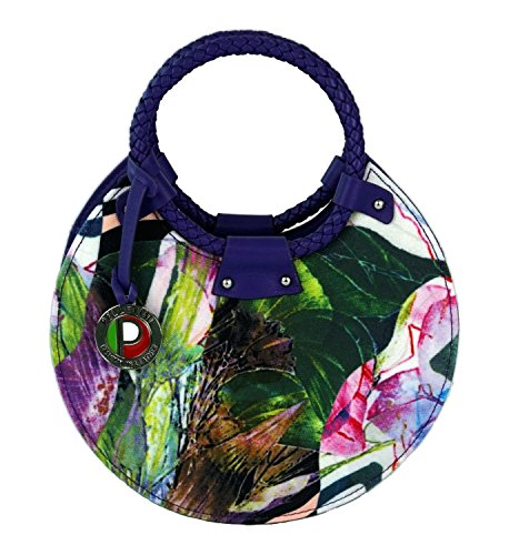 Pelletini Cherry Blossom Collection Floral Print Flower Canvas and Real Leather Handbag – Mini Size Round
