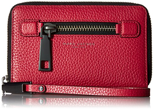 Marc Jacobs Gotham Slgs Zip Phone Wristlet, Raspberry