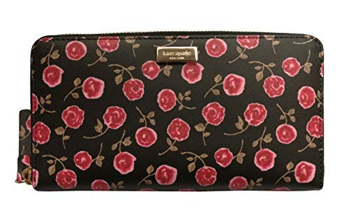 Kate Spade New York Neda Laurel Way Hazy Rose Zip Around Leather Wallet Rooster Red