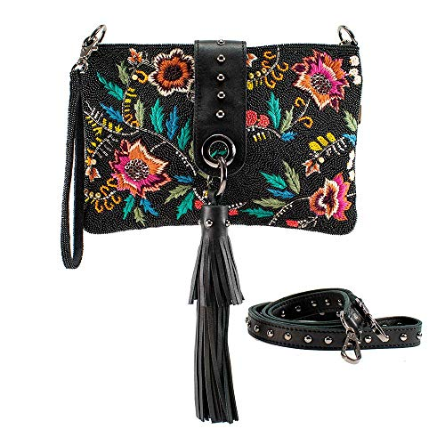 Mary Frances Wild Blossom, Embroidered Leather Crossbody Handbag Purse, Black