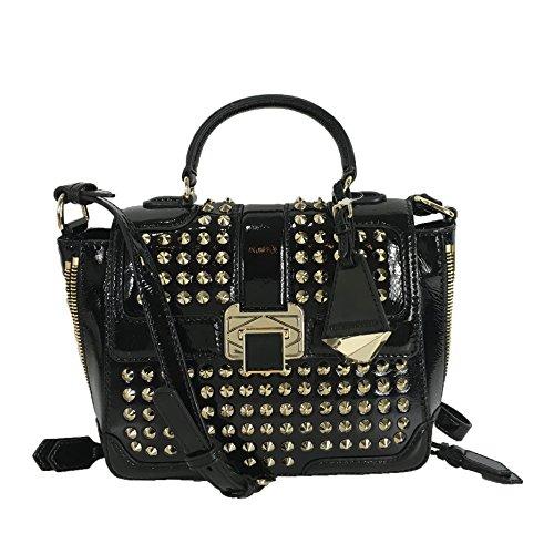 Rebecca Minkoff Elle Mini Patent Leather Satchel Crossbody w Studs, Black