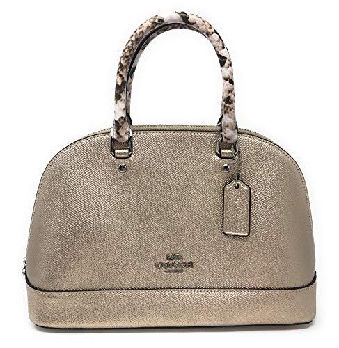 Coach Metallic Exotic Trim Mini Sierra Satchel Handbag Crossbody (SV/Platinum)