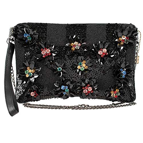 Mary Frances Floral Lux Embellished Leather Crossbody Clutch
