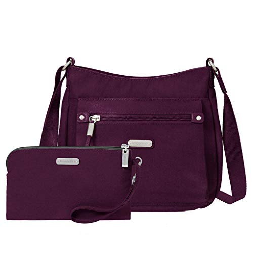 Baggallini Uptown Crossbody Handbag with RFID Wristlet Mid Size Everyday Nylon Shoulder Bag(Eggplant)