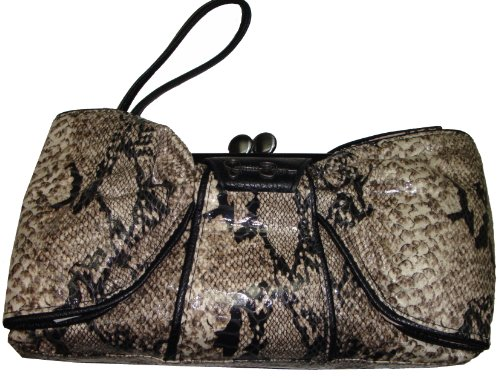 Jessica Simpson Women's Bella Bow Wristlet Handbag, Black Print