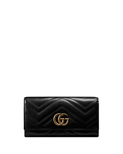 Gucci Marmont Leather Continental Wallet Black Gold Quilted Box New