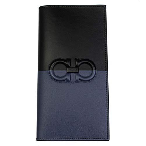 Salvatore Ferragamo Gancini Men's Black & Blue Leather Bi-fold Long Wallet 66A466
