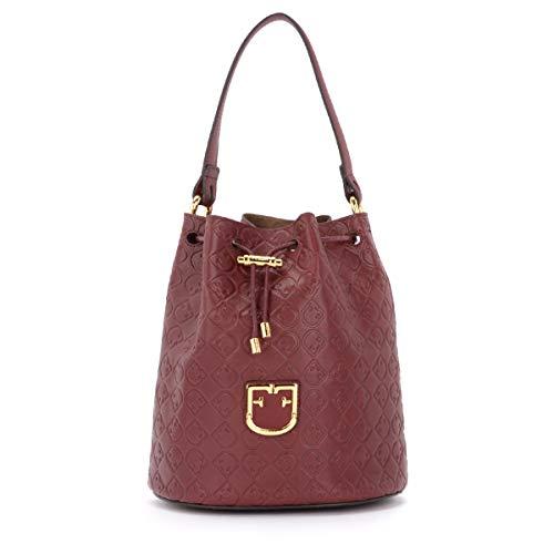 Furla Furla Corona S Bucket Bag In Textured Burgundy Leather Red