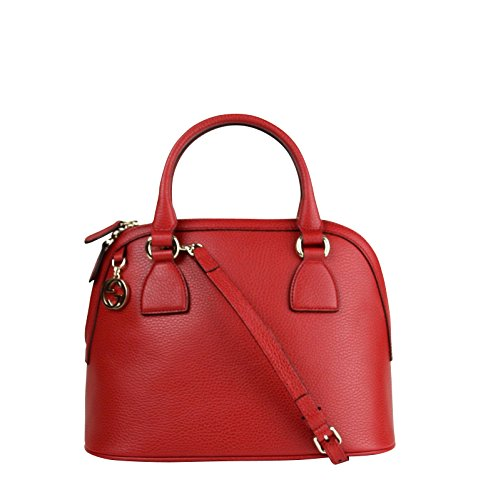 Gucci GG Charm Red Leather Medium Convertible Dome Bag 449662 6420