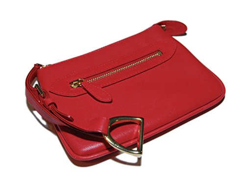 Ralph Lauren Collection Womens Equestrian Red Leather Coin Key Wallet Italy