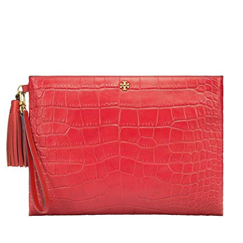 Tory Burch Croc-embossed Large Clutch