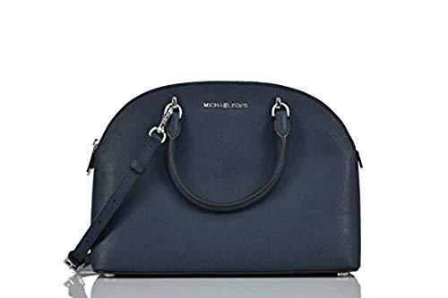 Michael Kors Emmy (Navy) Dome Satchel Saffiano Leather Shoulder Bag Purse Handbag