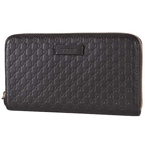 Gucci XL Micro GG Guccissima Black Leather Zip Around Travel Wallet