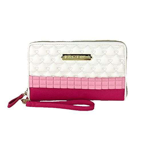 Betsey Johnson Oh Frills Travel Wristlet Wallet, Pink/White
