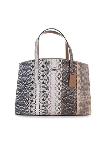 Coach New York Charlie Snakeskin Colorblock Tote Handbag in Natural