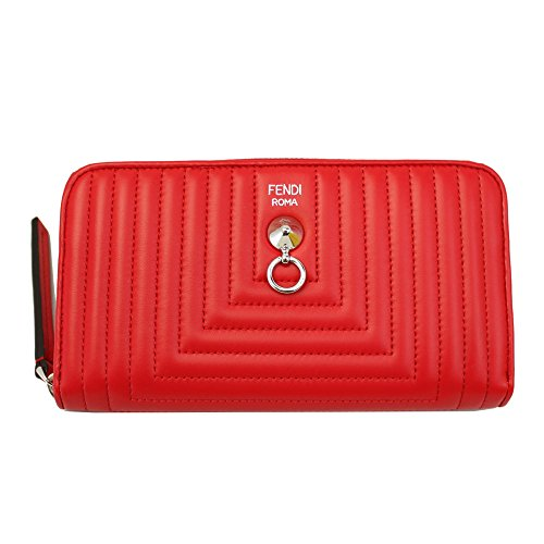 Fendi Women's Red Quilted Leather Long Wallet 8M0299 I8f Zip Around