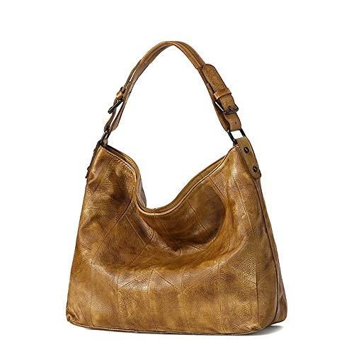Nuanxingjiafang Handbags-European-Style Retro-Stained Handbags, Shoulder Bags, Cross-Body Bags, Leather, Large Capacity, 34 12 30 cm Fashion