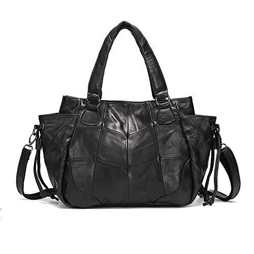 Nuanxingjiafang Handbag-Temperature Simple Splicing Tote Bag Handbag, Shoulder Bag Messenger Bag, Leather, Large Capacity, Black, 30 12 25cm Fashion