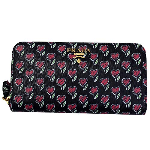 Prada Heart Flower Print Black Leather Long Wallet 1ML506 Zip Around