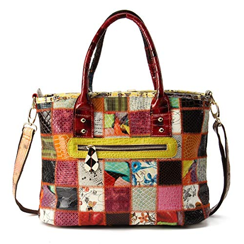 JIUYAODIANZI Handbags for Women Women Genuine Leather Vintage Tote Handbag Large Capacity Stitching Crossbody Bag