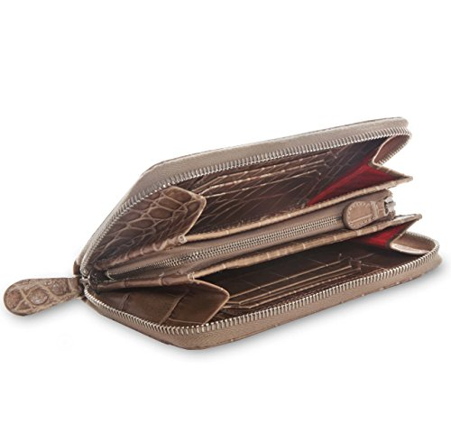 David Hampton Serengeti Crocodile Print Leather Zipped Wallet Beige