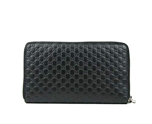 Gucci Unisex Black GG Guccissima Leather Zip Around Wallet 391465 1000