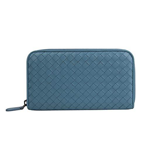 Bottega Veneta Women's Woven Zip Around Aqua Blue Leather Wallet 132358 4444